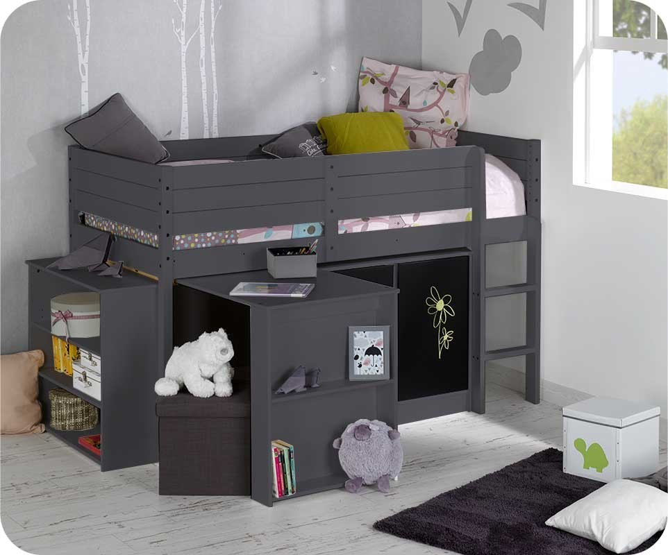 set lit enfant mi hauteur tamis gris anthracite. Black Bedroom Furniture Sets. Home Design Ideas