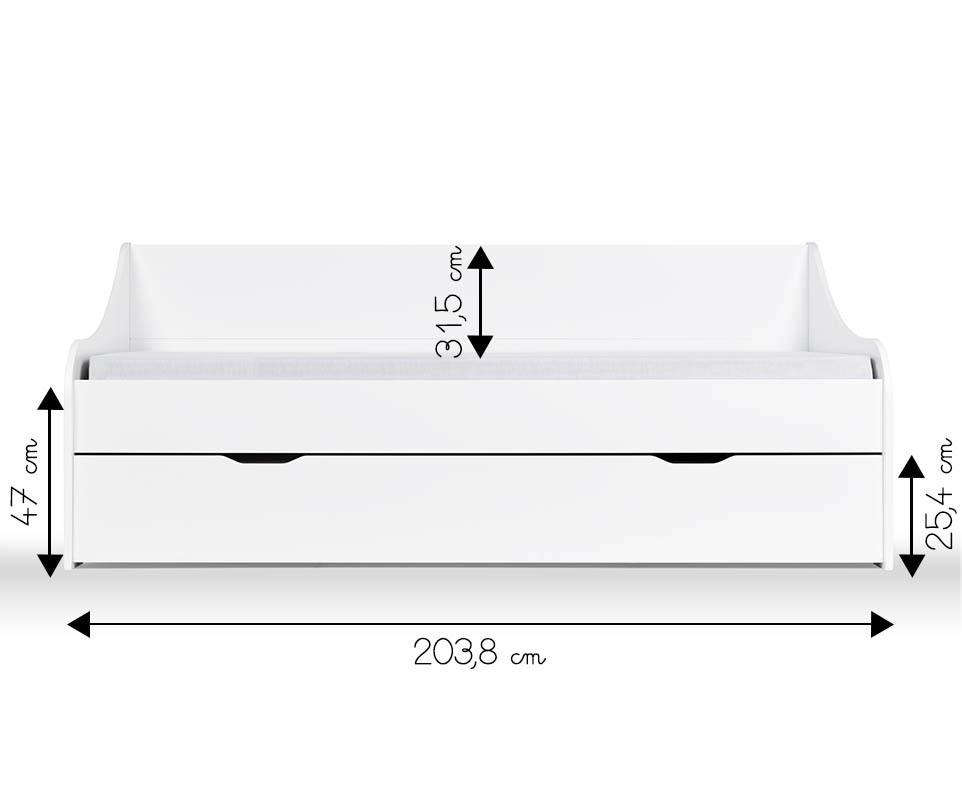 Lit gigogne lylo blanc 80x200 cm for Dimensiones cama nido