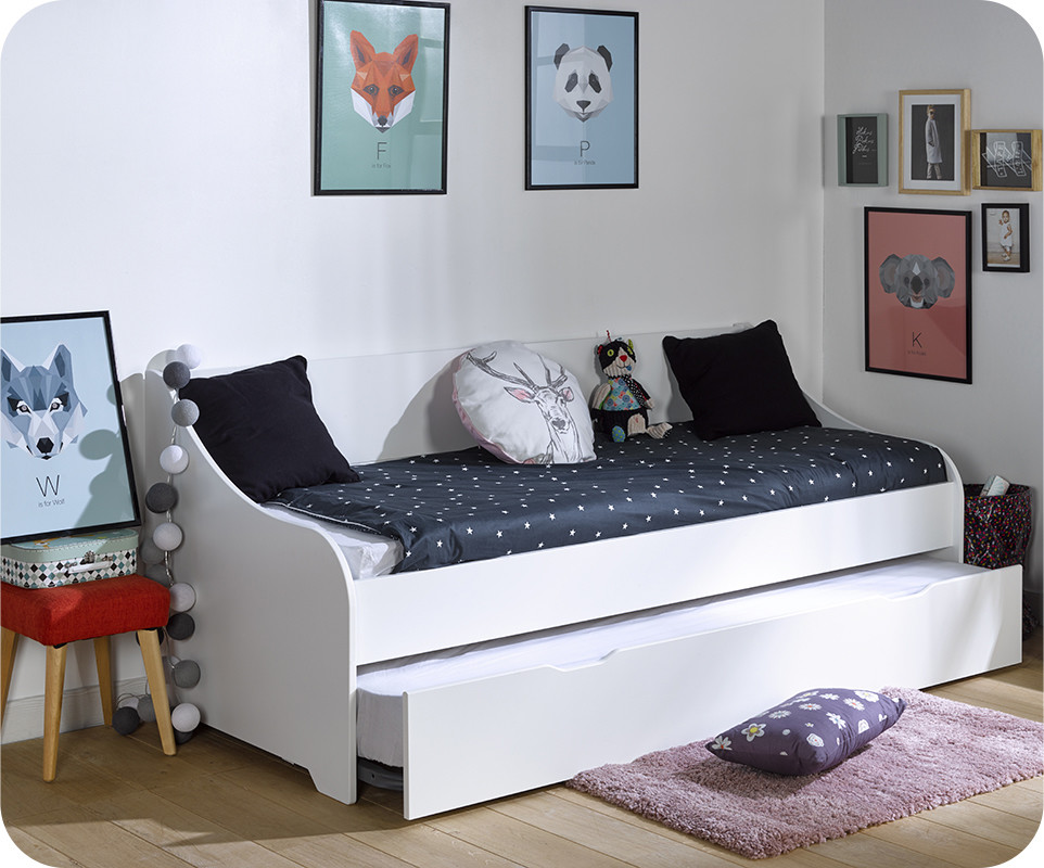 Pack lit gigogne lylo blanc 80x200 cm for Lit escamotable avec banquette