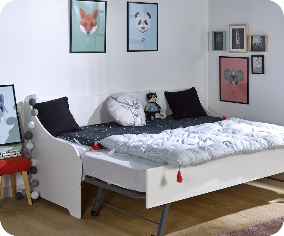 pack lit gigogne lylo blanc 80x200 cm. Black Bedroom Furniture Sets. Home Design Ideas