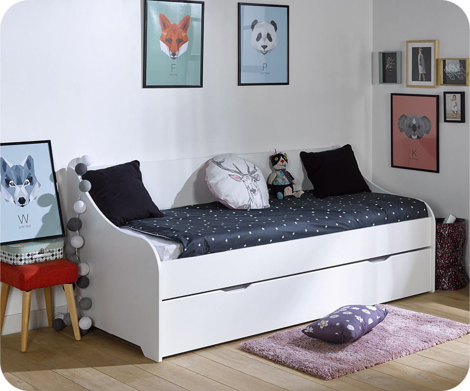 pack lit gigogne lylo blanc 80x200 cm. Black Bedroom Furniture Sets. Home Design Ideas