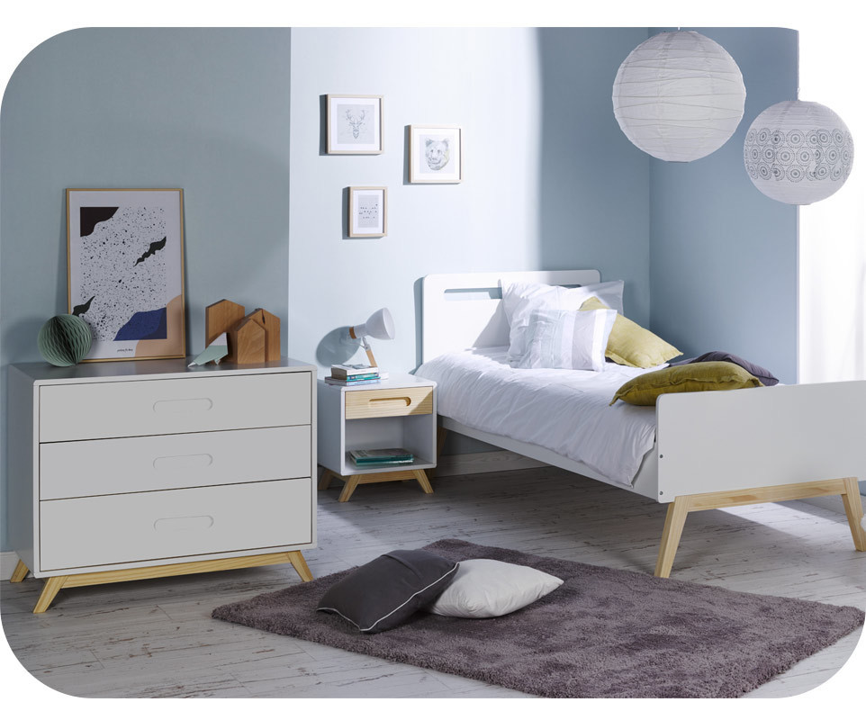 chambre enfant songe blanche et bois set de 3 meubles. Black Bedroom Furniture Sets. Home Design Ideas
