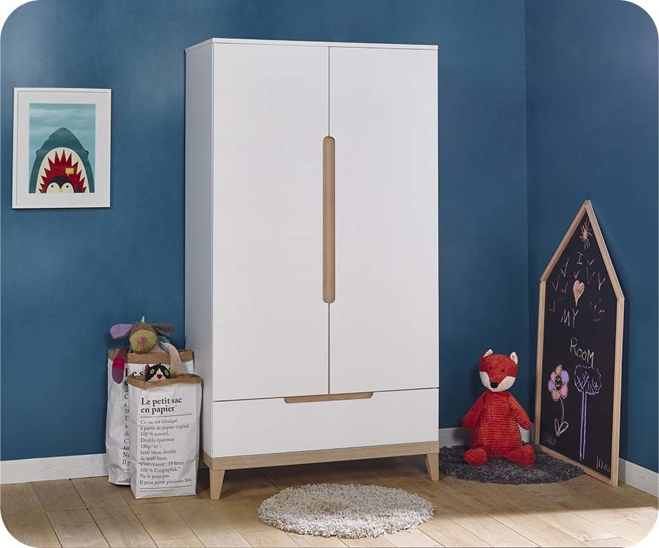 Armoire b b riga blanche et bois for Armoire bebe blanche