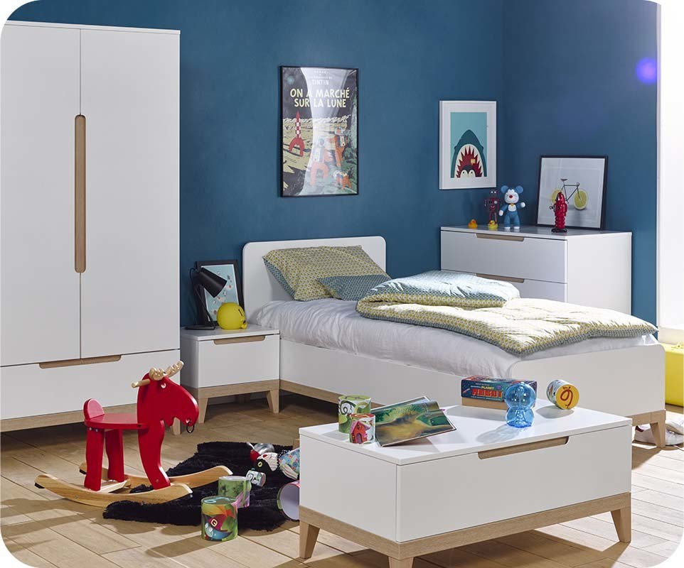 lit enfant riga blanc et bois 90x200 cm. Black Bedroom Furniture Sets. Home Design Ideas