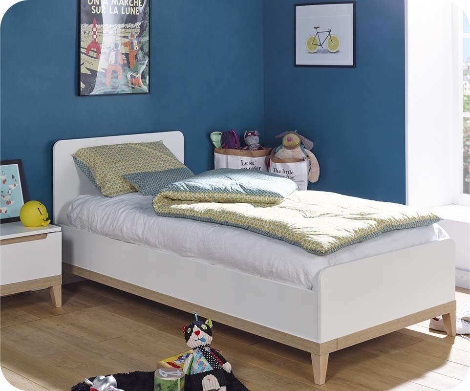 lit enfant riga blanc et bois 90x200 cm. Black Bedroom Furniture Sets. Home Design Ideas