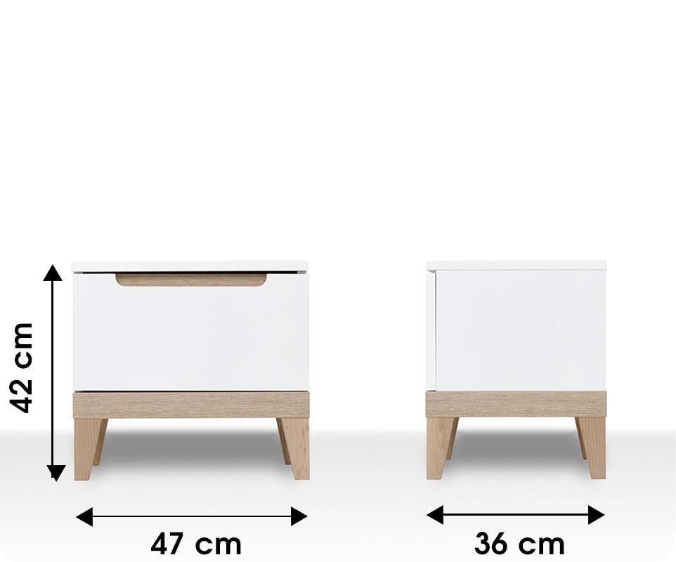 Chevet enfant riga blanc et bois mobilier qualit made for Dimension table de chevet