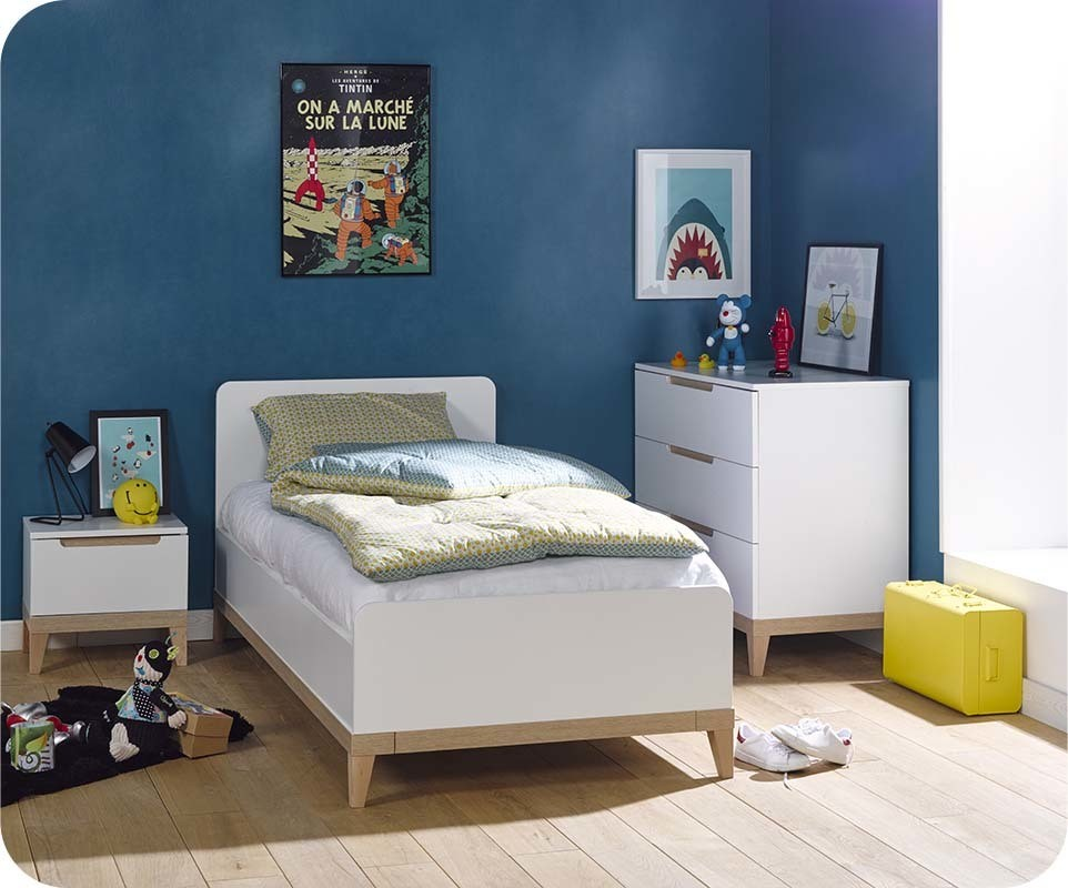 chambre enfant riga blanche et bois set de 3 meubles. Black Bedroom Furniture Sets. Home Design Ideas