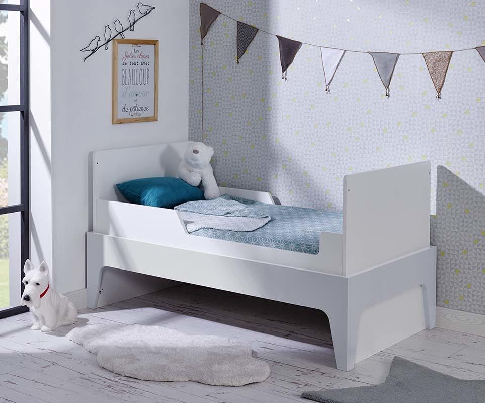 Lit b b volutif moon blanc et gris clair chambre et - Chambre bebe gris clair ...