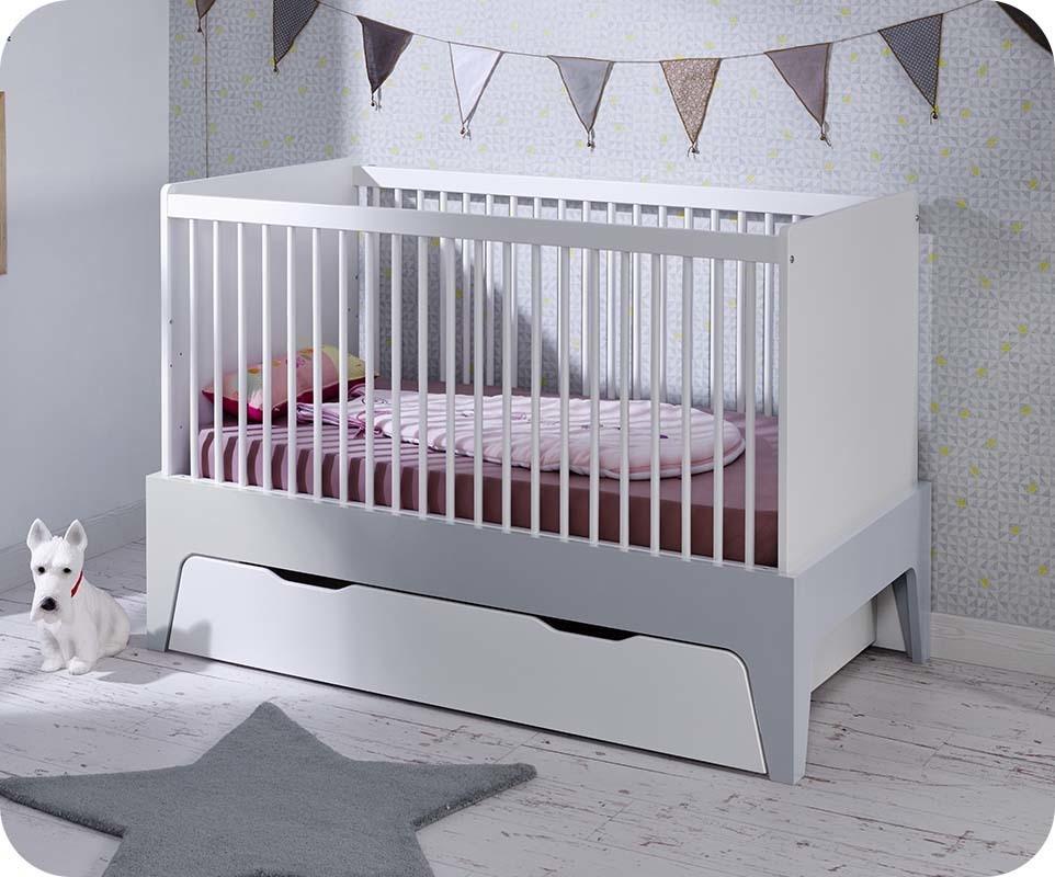 Lit b b volutif moon blanc et gris clair chambre et - Chambre bebe gris et blanc ...