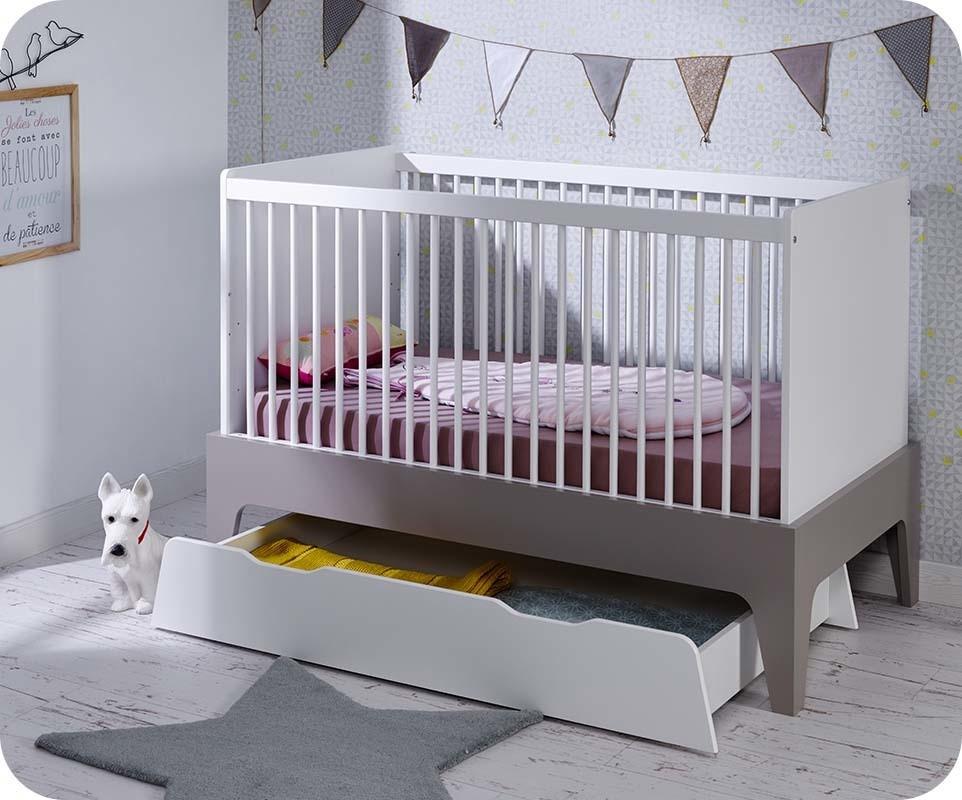 lit b b volutif moon blanc et lin avec matelas b b. Black Bedroom Furniture Sets. Home Design Ideas