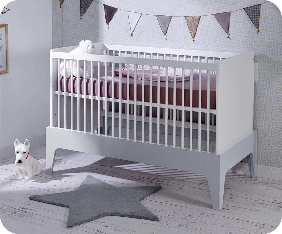 lit b b volutif moon blanc et gris clair avec matelas. Black Bedroom Furniture Sets. Home Design Ideas