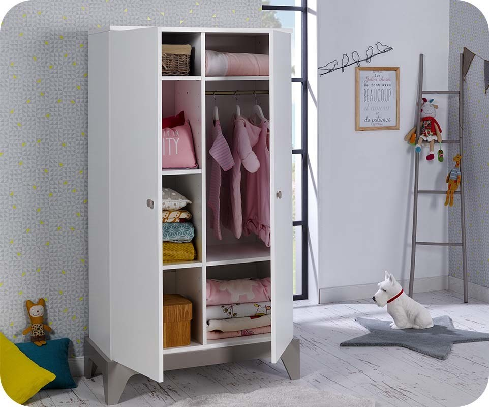 Armoire b b moon blanche et lin chambre et mobilier for Armoire bebe blanche