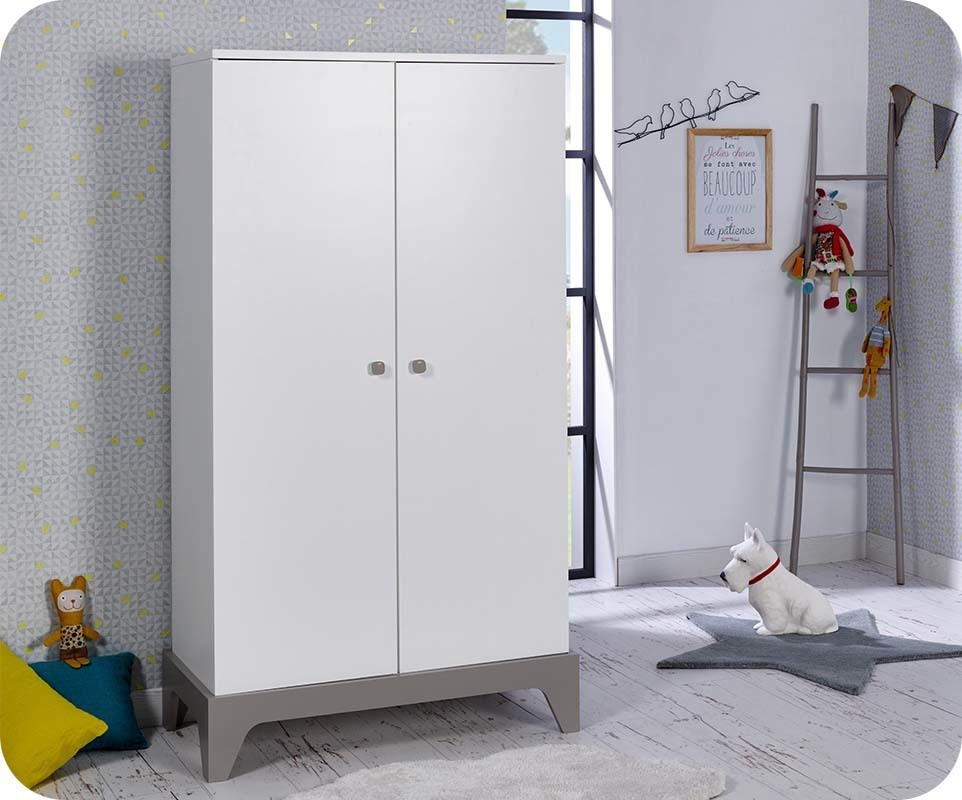 armoire b b moon blanche et lin chambre et mobilier. Black Bedroom Furniture Sets. Home Design Ideas