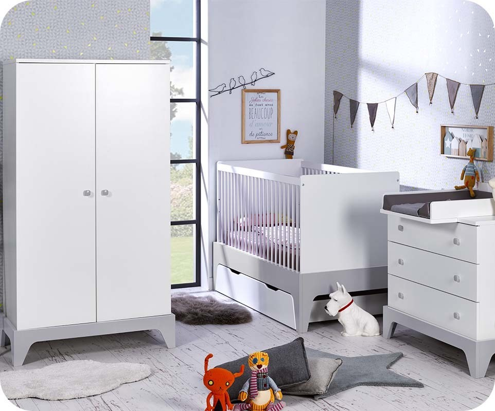 chambre b b moon blanche et gris clair chambre et mobilier pour enfant. Black Bedroom Furniture Sets. Home Design Ideas