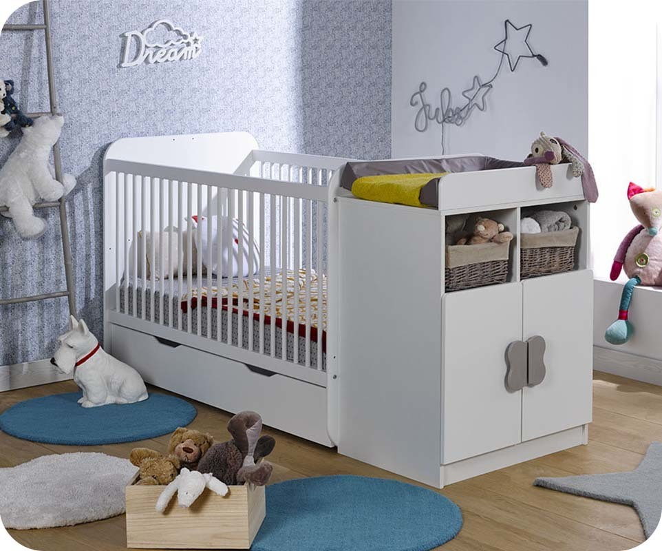 lit b b volutif holly blanc avec matelas b b. Black Bedroom Furniture Sets. Home Design Ideas