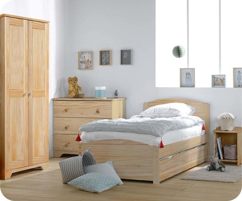 Chambre enfant nature brut avec armoire enfant - Set de chambre bois massif ...