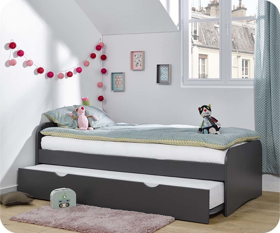 lit enfant gigogne twist gris anthracite 90x190 cm. Black Bedroom Furniture Sets. Home Design Ideas