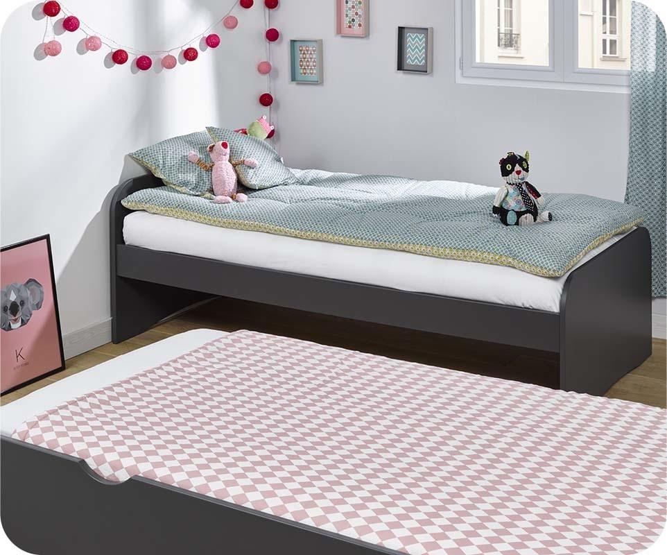 lit enfant gigogne twist gris anthracite 90x190 cm. Black Bedroom Furniture Sets. Home Design Ideas