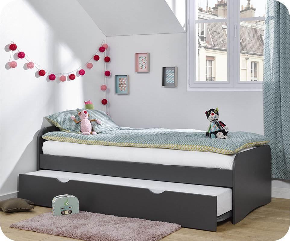 pack lit enfant gigogne twist gris anthracite 90x190 cm. Black Bedroom Furniture Sets. Home Design Ideas