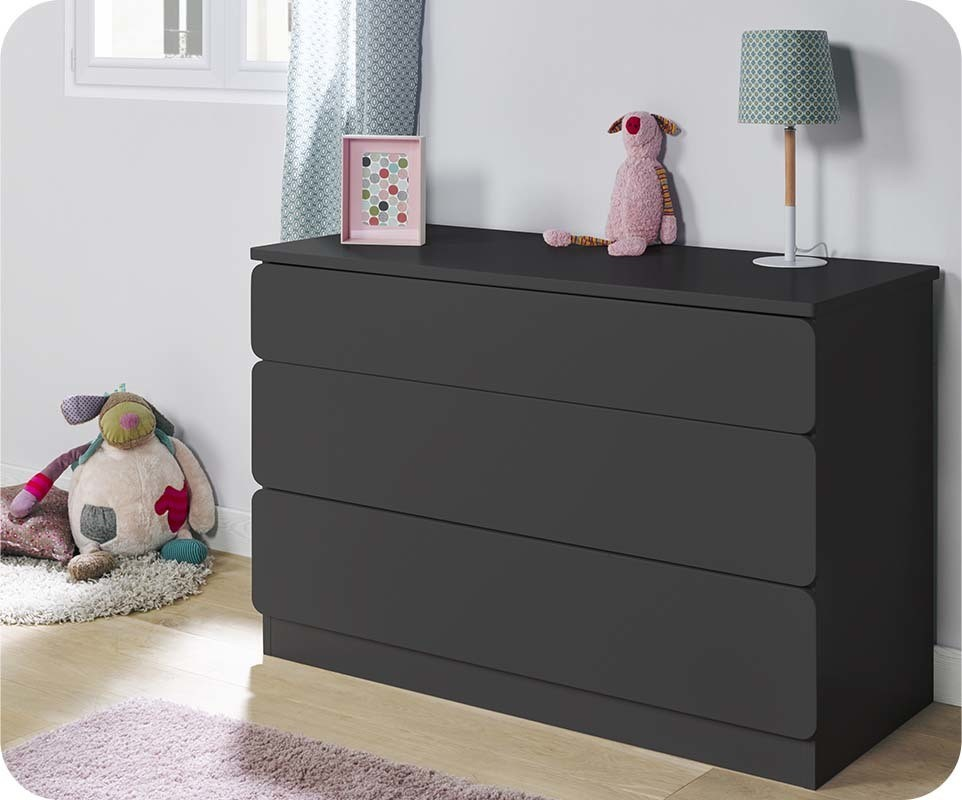 Chambre enfant twist gris anthracite set de 3 meubles for Chambre mobilier