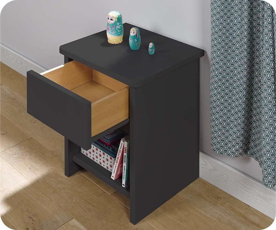 Chambre enfant twist gris anthracite set de 3 meubles for Table de nuit violette