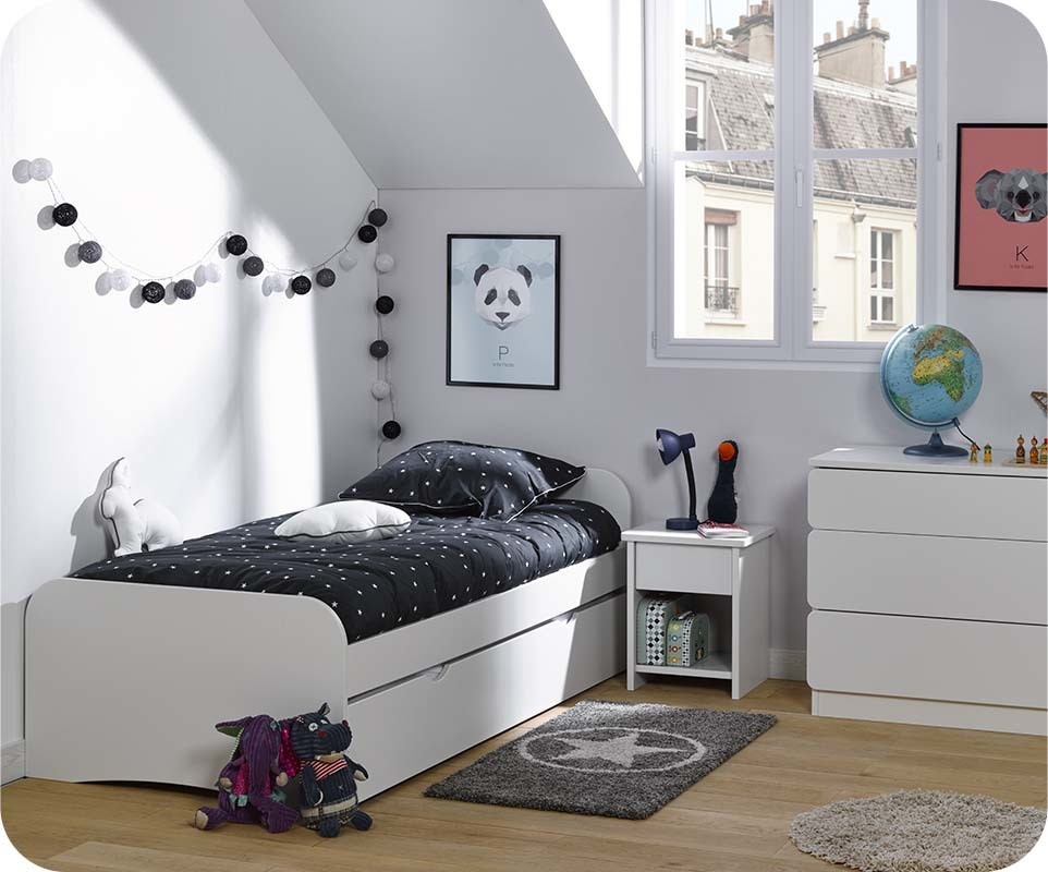 pack lit enfant gigogne twist blanc 90x200 cm avec 2 matelas. Black Bedroom Furniture Sets. Home Design Ideas
