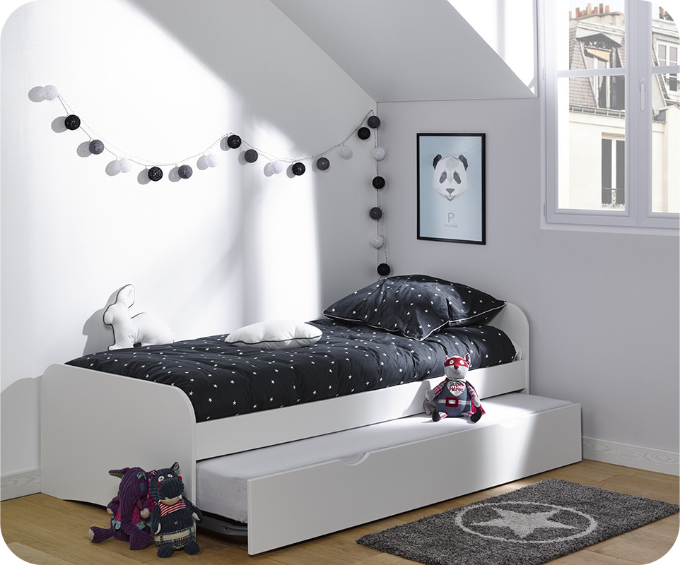 lit enfant gigogne twist blanc 90x200 cm. Black Bedroom Furniture Sets. Home Design Ideas