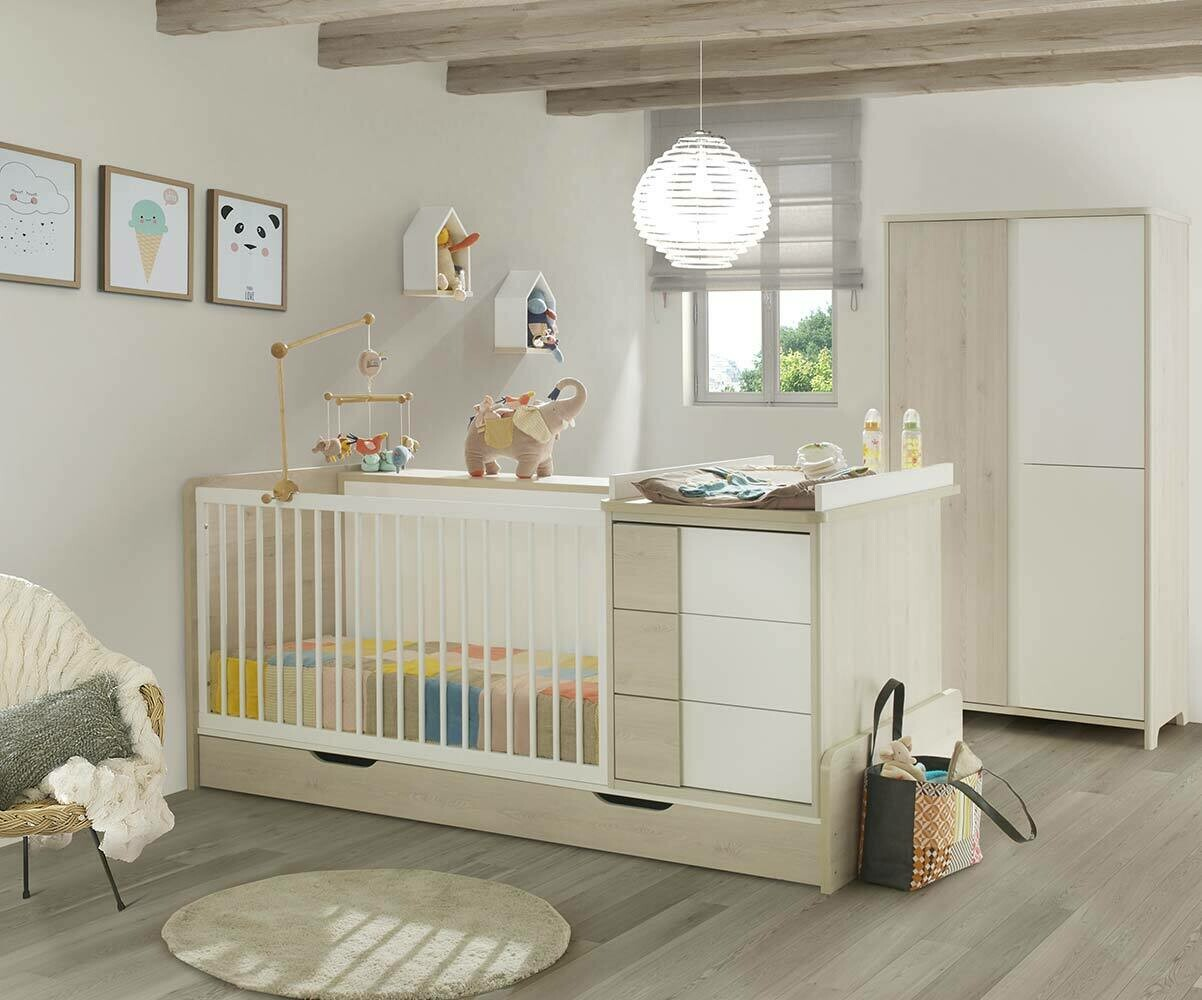 lit b b combin volutif lili bois et blanc avec matelas b b. Black Bedroom Furniture Sets. Home Design Ideas