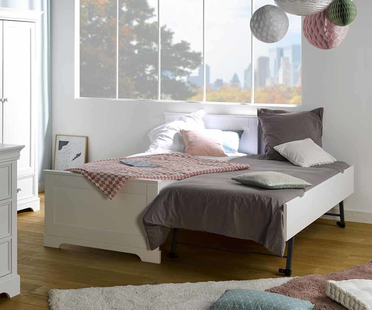 pack lit enfant gigogne mel blanc 90x190 cm avec sommier et matelas. Black Bedroom Furniture Sets. Home Design Ideas