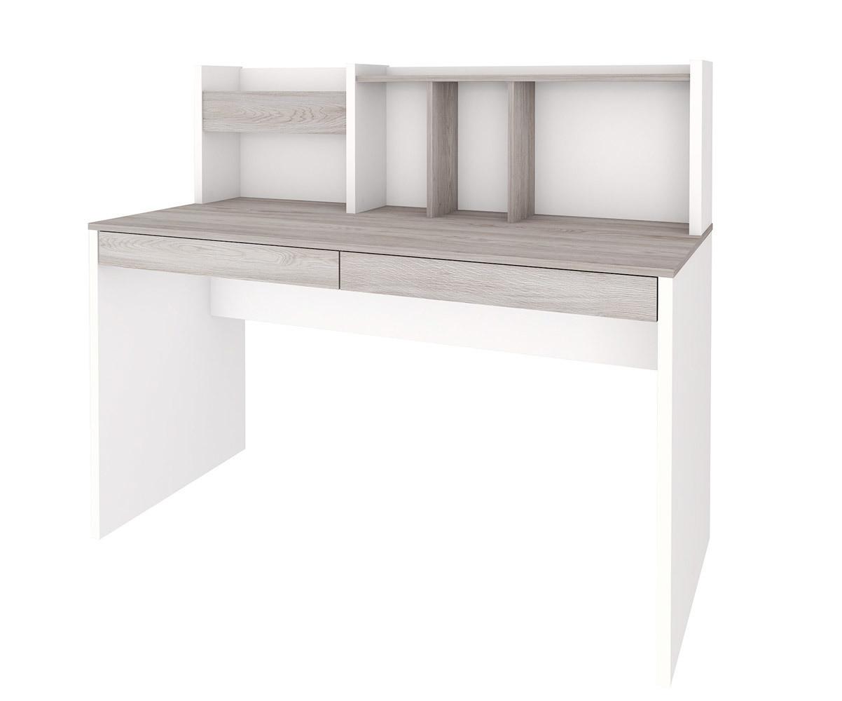 bureau enfant il o blanc et bois avec rangements. Black Bedroom Furniture Sets. Home Design Ideas