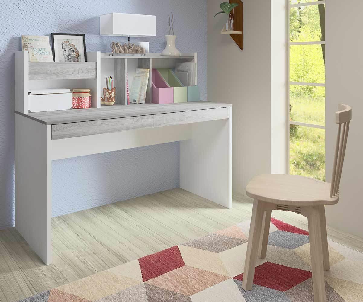 Bureau enfant il o blanc et bois avec rangements for Bureau blanc bois