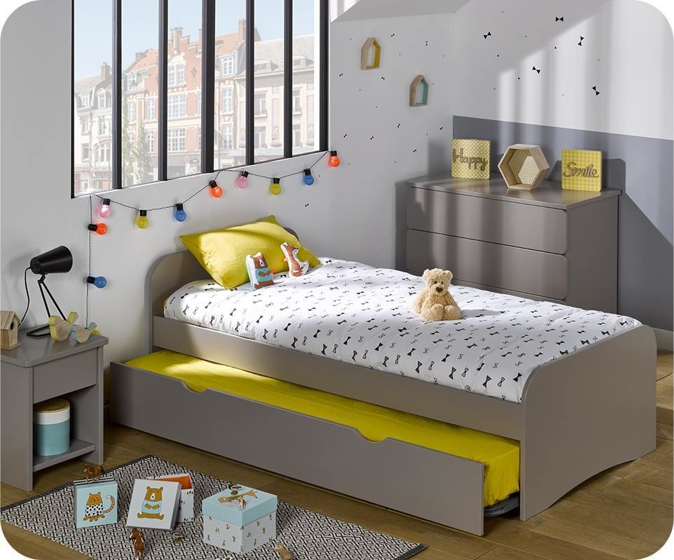 pack lit enfant gigogne twist lin 90x190 cm avec 2 matelas. Black Bedroom Furniture Sets. Home Design Ideas