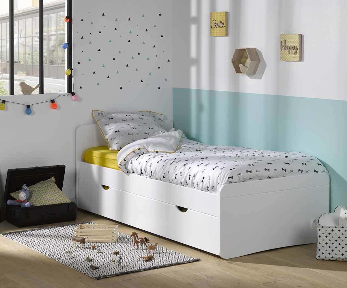 Pack lit enfant willow blanc 90x190 cm avec sommier et matelas - Lit 90x190 avec barriere ...
