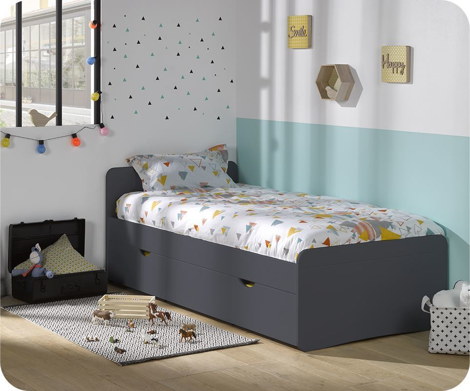 lit enfant willow gris anthracite 90x190 cm avec sommier. Black Bedroom Furniture Sets. Home Design Ideas