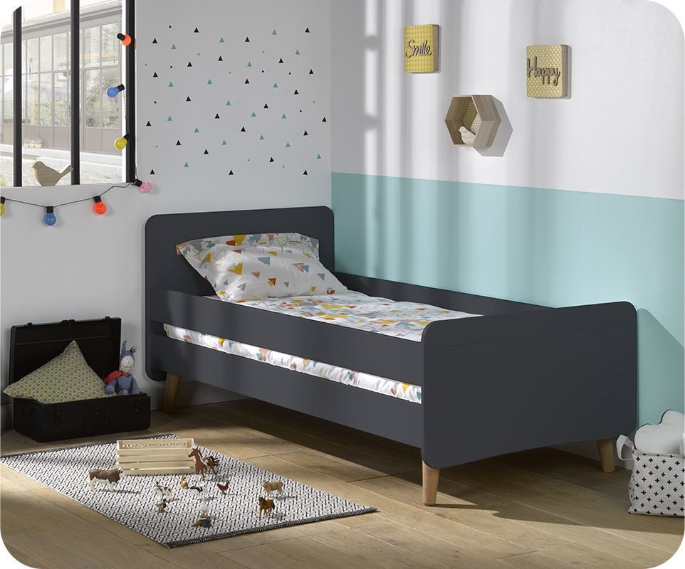 pack lit enfant willow gris 90x190 cm avec pieds sommier et matelas. Black Bedroom Furniture Sets. Home Design Ideas