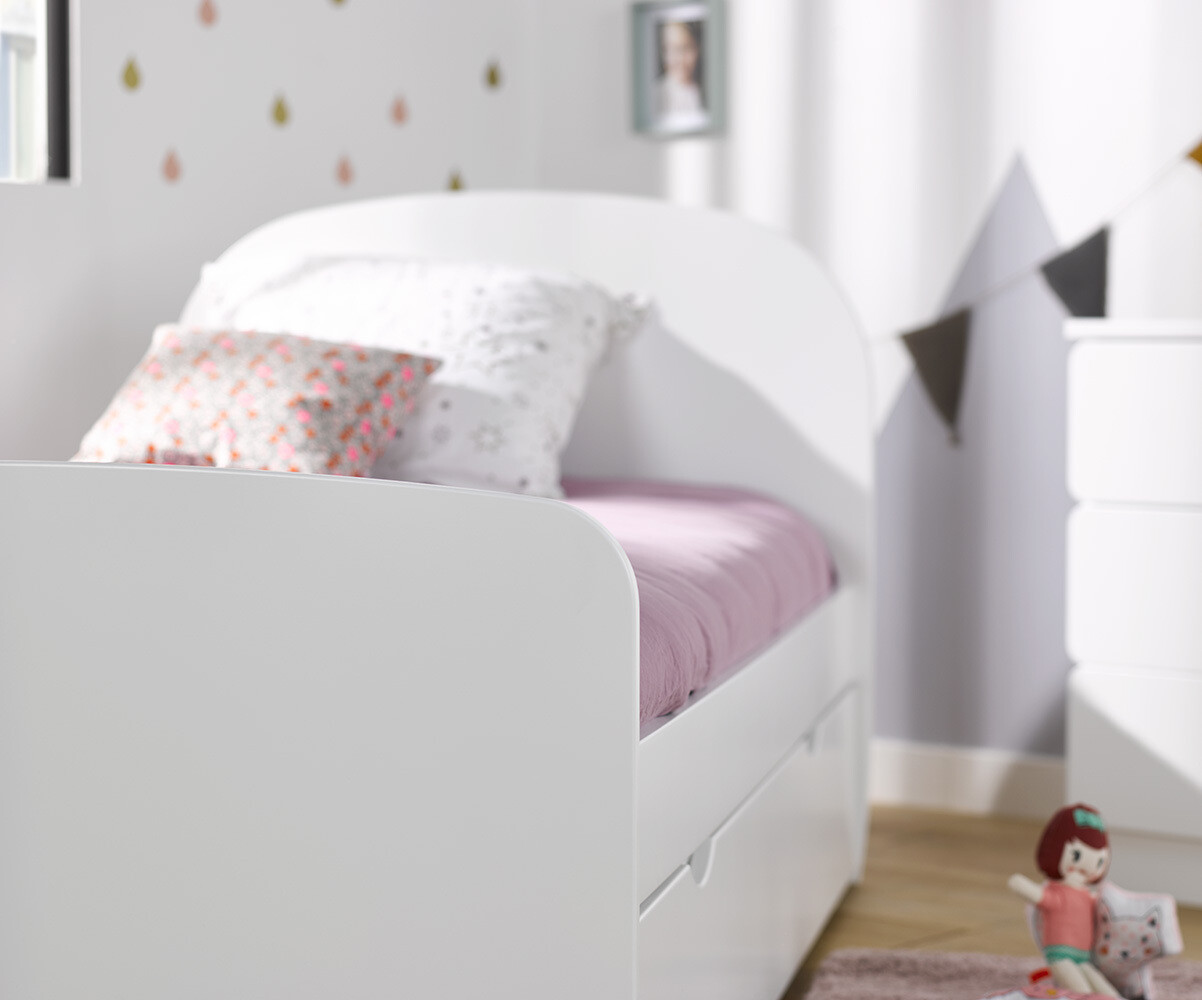 pack lit enfant luen blanc 90x190 cm avec sommier et matelas. Black Bedroom Furniture Sets. Home Design Ideas