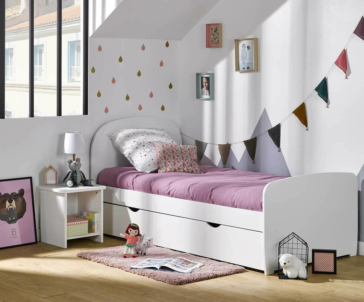 Pack lit enfant luen blanc 90x190 cm avec sommier et matelas for Dormitorio juvenil cama 105