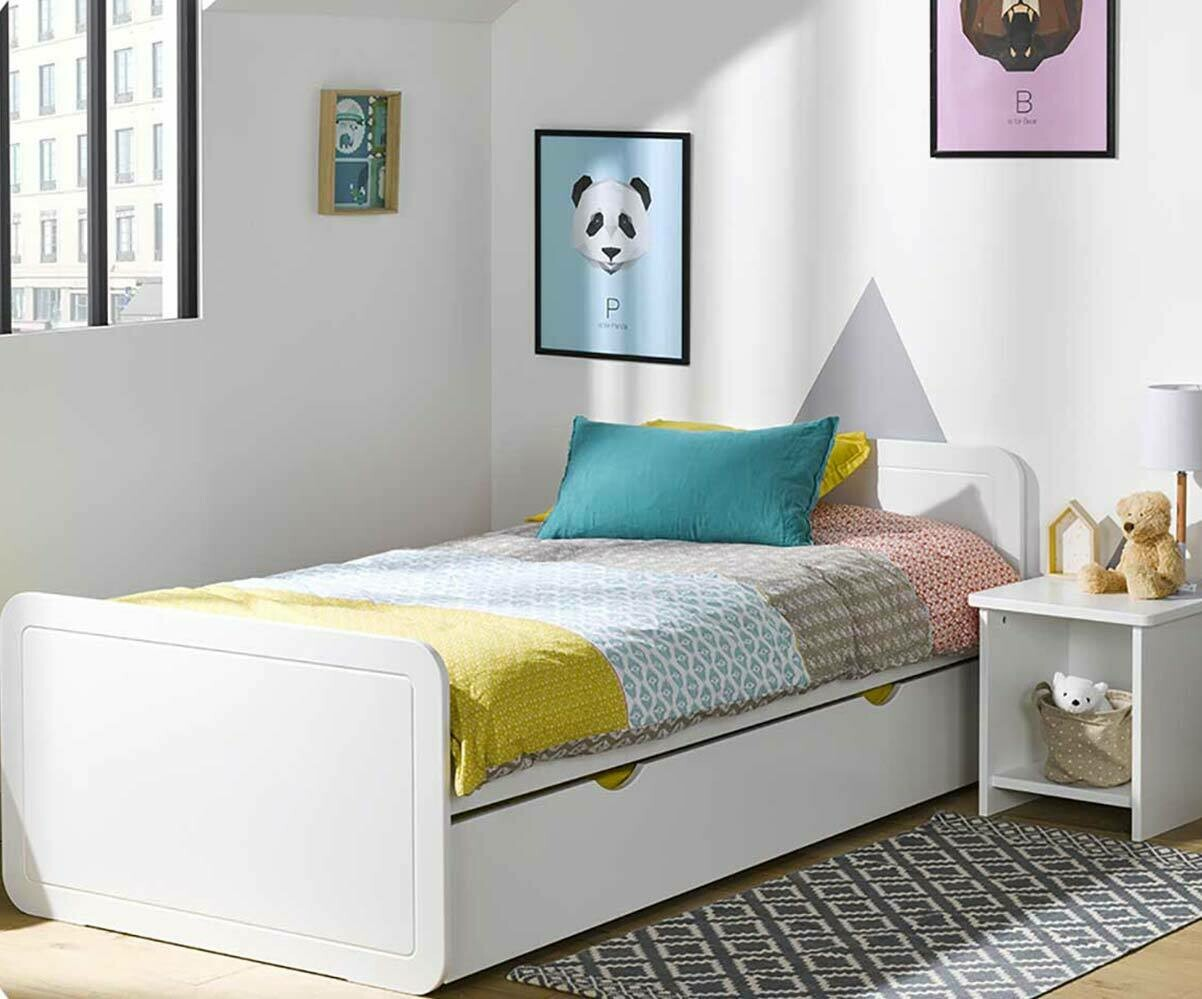pack lit enfant lemon blanc 90x190 cm avec sommier et matelas. Black Bedroom Furniture Sets. Home Design Ideas