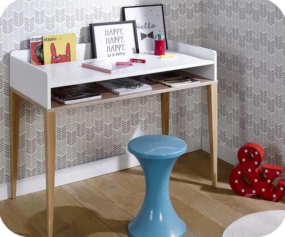 Bureau enfant riga blanc et bois for Bureau largeur 50 cm