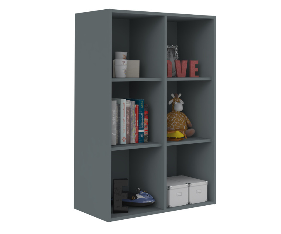 Meuble de rangements moov 6 cases gris anthracite for Meuble 6 cases