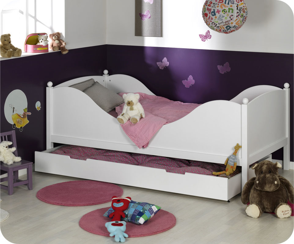 Lit enfant color blanc 90x190 cm fabrication fran aise - Lit 90x190 avec barriere ...