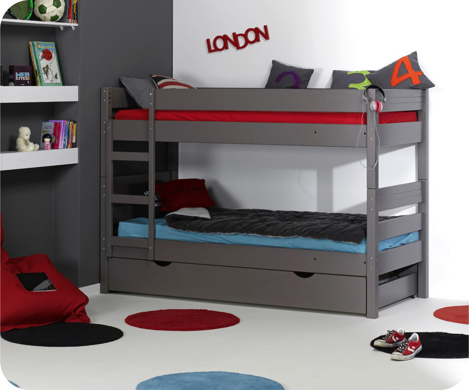 Lit superpos enfant 1 2 3 taupe 90 x 190 cm achat vente lit superpos en b - Lit 2 places superpose ...