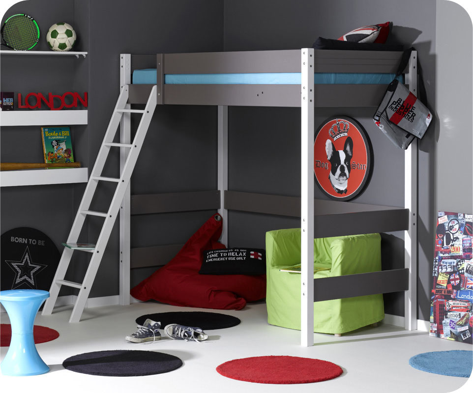 En soldes lit mezzanine enfant jump 39 in couleur taupe - Lit mezzanine en solde ...