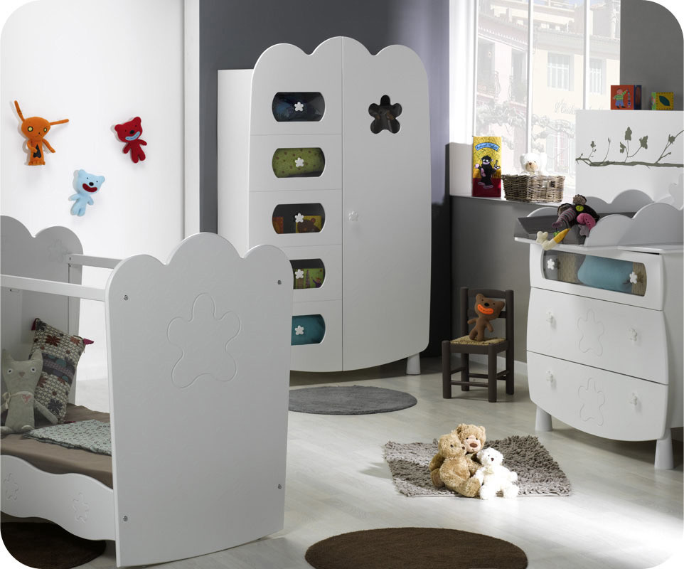 Armoire b b lin a blanche achat vente armoire chambre for Achat chambre bebe