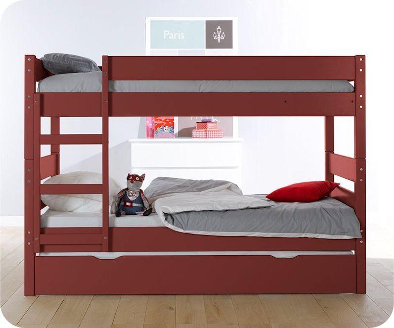 Pack lit superpos enfant 1 2 3 rouge 90x190 cm avec 2 matelas - Matelas lit superpose ...
