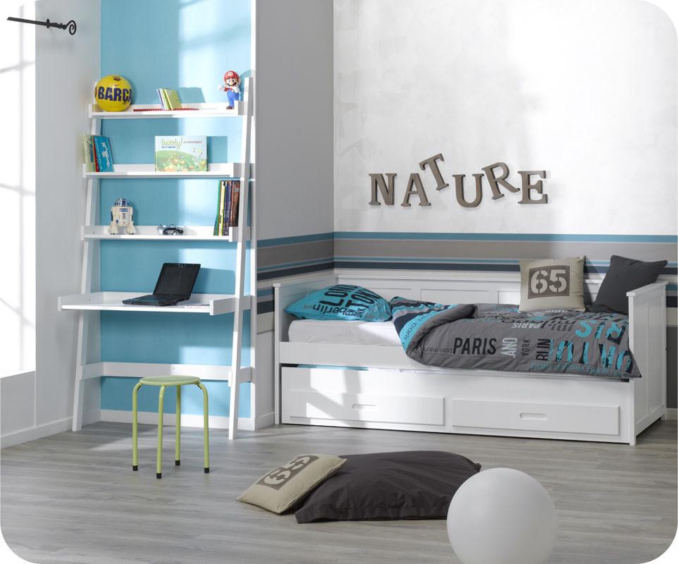 chambre enfant swam blanche avec lit gigogne bureau et coffre. Black Bedroom Furniture Sets. Home Design Ideas