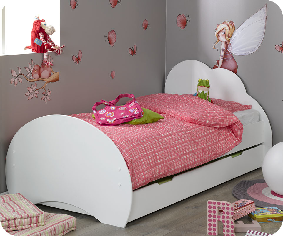 lit enfant nuage blanc 90 x 190 cm ma chambre d 39 enfant. Black Bedroom Furniture Sets. Home Design Ideas