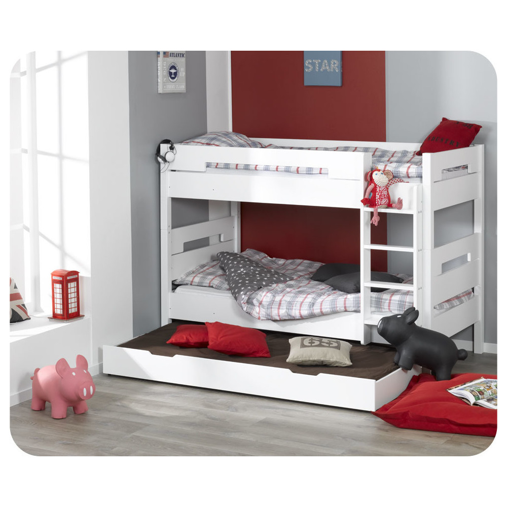 pack lit superpos enfant bow blanc 90 x 190 cm avec 2 matelas ma chambre d 39 enfant. Black Bedroom Furniture Sets. Home Design Ideas