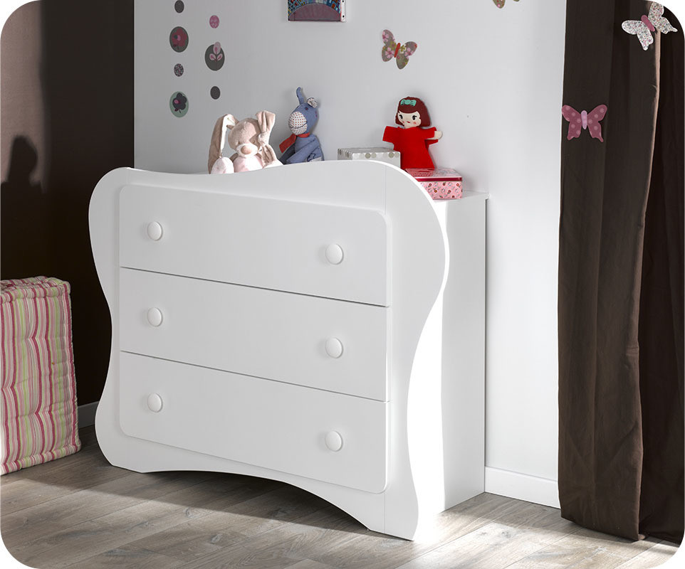 Commode b b iris blanche for Commode chambre bebe