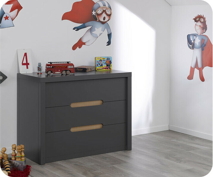 Commode Enfant Bow Gris Anthracite